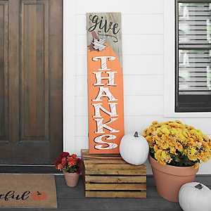 Give Thanks Pumpkin Wooden Plaque