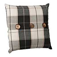 Raven Charcoal Plaid Button Pillow
