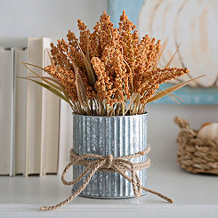 Galvanized Orange Wheat Arrangement