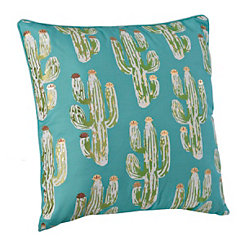 Aqua And Gold Cactus Print Pillow