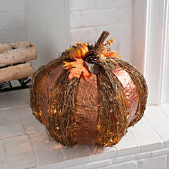 Pre-Lit Metal and Rattan Pumpkin, 20 in.