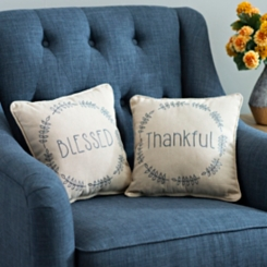 Thankful & Blessed Pillows, Set of 2