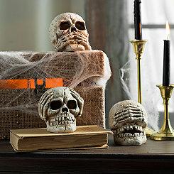 Hear See Speak Skulls, Set of 3