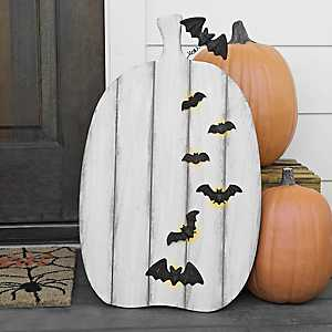 Pre-Lit White Pumpkin Easel