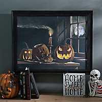 Jack O' Lantern Trio Framed LED Canvas Art Print