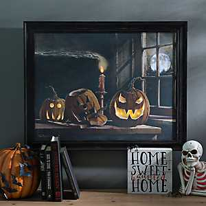 Jack O' Lantern Trio Framed LED Canvas Art Print