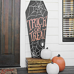 Trick or Treat Coffin Porch Board Plaque