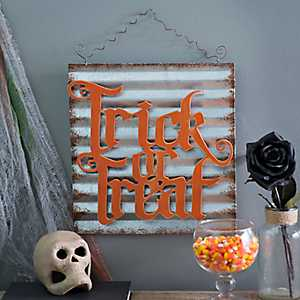 Galvanized Metal Trick or Treat Wall Hanger