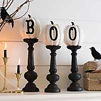 Boo Pumpkin Finials, Set of 3