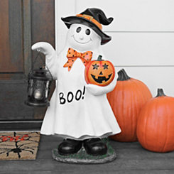 Pumpkin and Ghost Statue with Lantern
