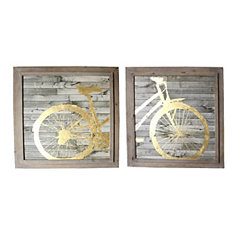 Gold Bicycle Framed Wall Plaques, Set of 2