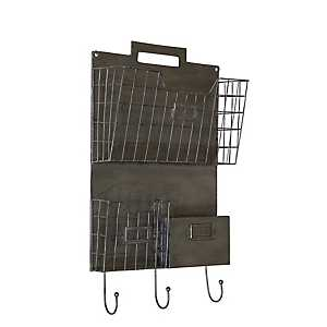 Gray Metal Wall Organizer