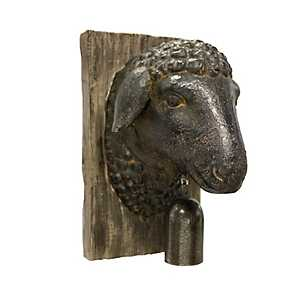 Sheep Head Wood Wall Plaque