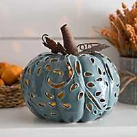 Pre-Lit Blue Ceramic Pumpkin Figurine