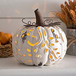 Pre-Lit White Ceramic Pumpkin Figurine