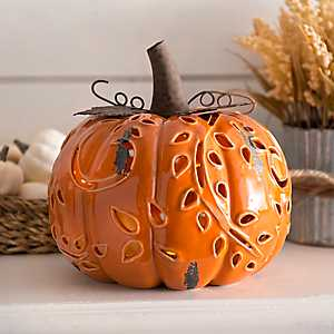 Pre-Lit Orange Ceramic Pumpkin Figurine