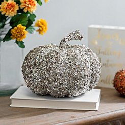 Silver Sequin Pumpkin Figurine