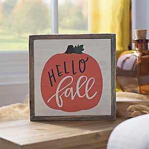 Hello Fall Pumpkin Word Block