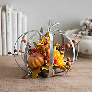 Galvanized Gray Pumpkin Arrangement