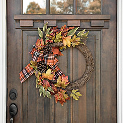 Plaid Half Leaf Wreath