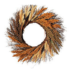 Wheat Heather Spiral Vine Wreath