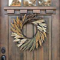 Wheat Heather Spiral Vine Wreath
