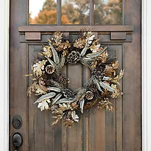 Metallic Leaf and Acorn Wreath