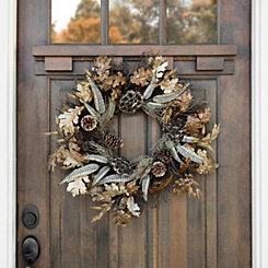 Metallic Leaf and Acorn Wreath