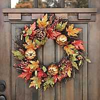 Metallic Berry Pumpkin Wreath