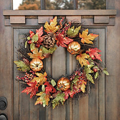 Metallic Berry Pumpkin Wreath
