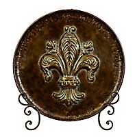Bronze Scroll Fleur-de-Lis Plate and Stand Set