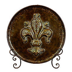 Bronze Scroll Fleur-de-Lis Plate and Stand Set