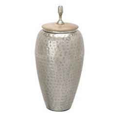 Hammered Metal and Wood Jar