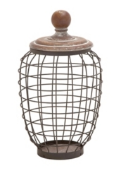 Brown Wire and Wood Jar