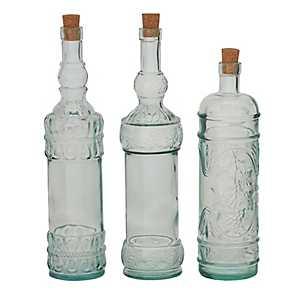 Embossed Glass Stopper Bottles, Set of 3