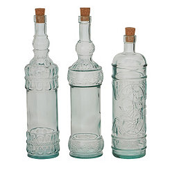 Embossed Glass Stopper Bottles, Set of 3