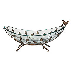 Glass and Bronze Bird Decorative Bowl