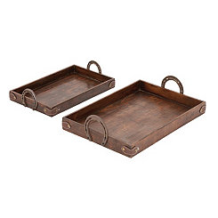 Horseshoe Wood and Metal Trays, Set of 2