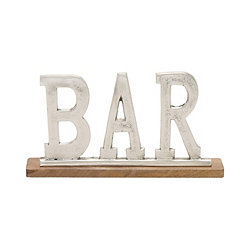Aluminum and Wood Bar Sign