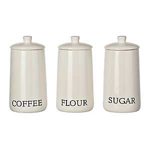 Lauren Modern White Ceramic Canisters, Set of 3