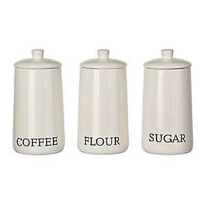 Lauren Modern White Ceramic Canisters, Set of 3