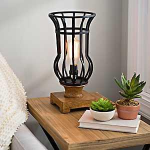 Caged Bronze Metal Edison Bulb Uplight