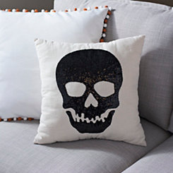 Black Sequin Skull Pillow