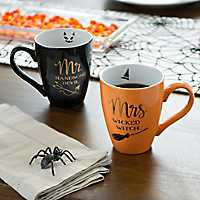 Mr. & Mrs. Halloween Witch Mugs, Set of 2
