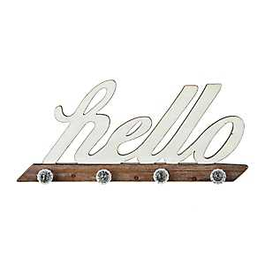 Rustic Hello Plaque with Crystal Knobs