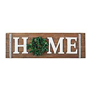Home Wreath Wooden Wall Plaque