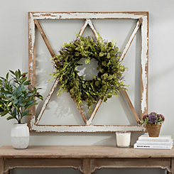 Wreath Topped Windowpane Wall Plaque