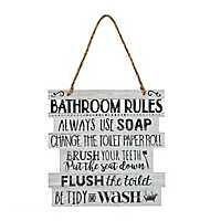 Bathroom Rules Hanging Wall Plaque