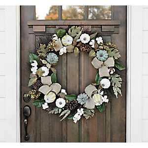 Cotton and Cream Pumpkin Wreath