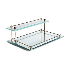 Beveled Glass 2-Tier Valet Tray